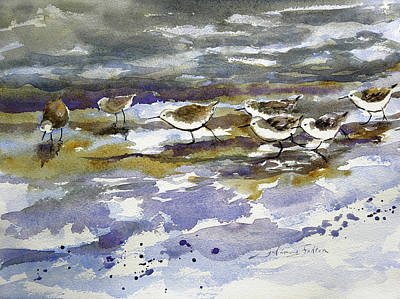 Painting - Morning Sandpipers At The Beach by Julianne Felton