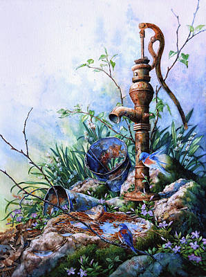 Bird Bath Painting - Morning Shower by Hanne Lore Koehler