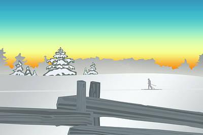 Morning Ski On The Pinder Art Print