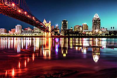 Photograph - Morning Skyline Reflections Of Cincinnati Ohio by Gregory Ballos