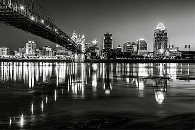 Photograph - Morning Skyline Reflections Of Cincinnati Ohio In Black And White by Gregory Ballos