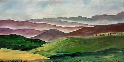 Smoke In The Fog Painting - Morning Smoke In The Gallatin Valley    79 by Cheryl Nancy Ann Gordon