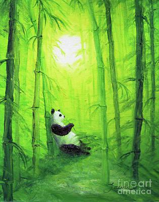 Panda Bear Painting - Morning Snack by Laura Iverson