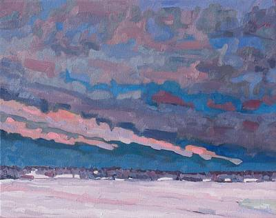 St. Lawrence River Painting - Morning Snow Clouds by Phil Chadwick