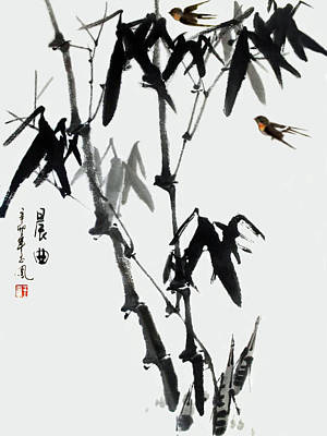 Painting - Bamboo And Birds by Yufeng Wang