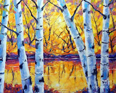 Morning Sparkle Birches By Prankearts Original