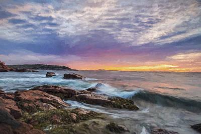 Maine Coast Digital Art - Morning Splash II by Jon Glaser