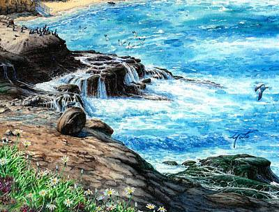 La Jolla Cove Painting - Morning Splash by John YATO