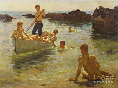 Wooden Painting - Morning Splendour by Henry Scott Tuke