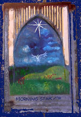 Primitive Angel Painting - Morning Star Folk Art by Anne Cameron Cutri