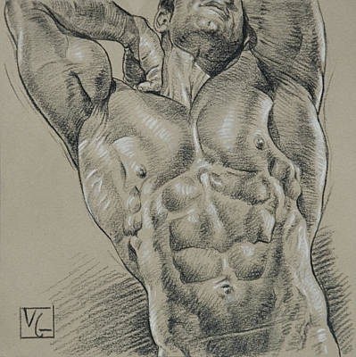 Hunk Drawing - Morning Stretch by Victor Gadino