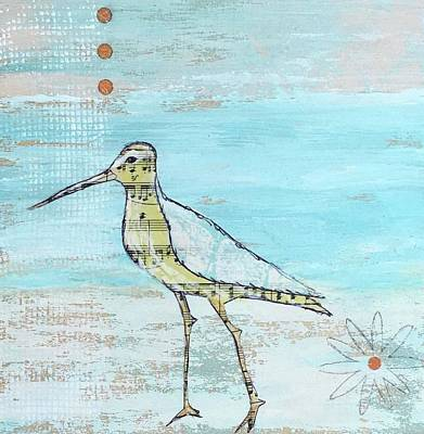 Sandpiper Mixed Media - Morning Stroll by Nancy Gunther