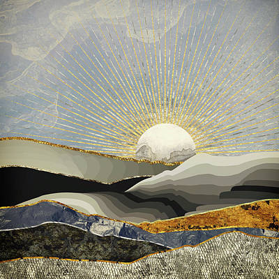 Abstract Landscape Digital Art - Morning Sun by Katherine Smit