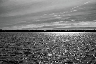 Photograph - Morning Sun On The River 1 Bw by Mary Bedy