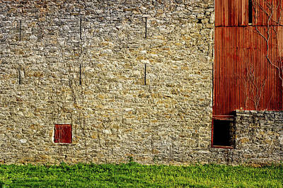 Photograph - Morning Sun Warms 1910 Stone Barn Wall by Frank J Benz