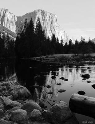 Photograph - Morning Sunlight On El Cap - Black And White by Heidi Smith