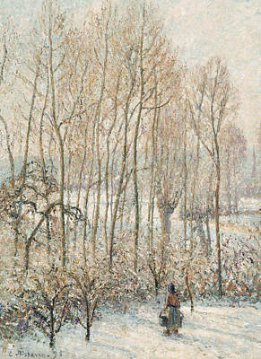 Morning Sunlight On The Snow Eragny Sur Epte Art Print by Camille Pissarro