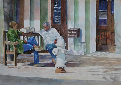 Fire Hydrant Mixed Media - Morning Talk by E M Sutherland