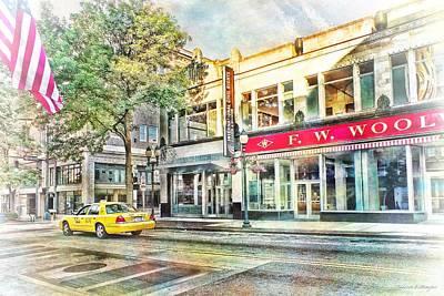 Morning Taxi Downtown Urban Scene Art Print