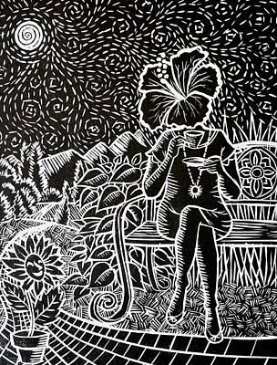 Lino Painting - Morning Tea Enjoyment by Natasha Junmanee