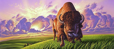Bison Wall Art - Painting - Morning Thunder by Jerry LoFaro