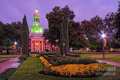 Morning Twilight Shot Of Pat Neff Hall From Founders Mall At Baylor University - Waco Central Texas Art Print by Silvio Ligutti