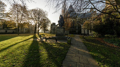 Photograph - Morning View Of Tennyson Memorial Statue At Lincoln Cathedral by Jacek Wojnarowski
