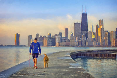 Photograph - Morning Walk - 1 - Pier - North Avenue Beach  - Chicago by Nikolyn McDonald