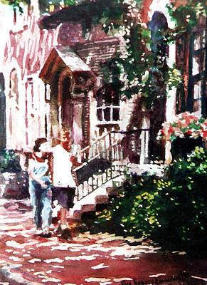 Philadelphia Scene Painting - Morning Walk by Eva Ramanuskas