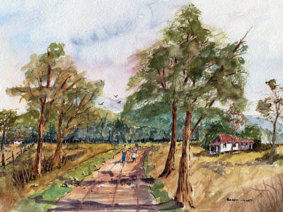 Loose Style Painting - Morning Walk - Watercolor by Barry Jones