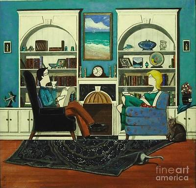 Bookshelf Painting - Morning With The Cats While Sitting In Chairs by John Lyes