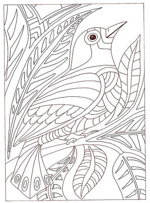 Moroccan Drawing - Moroccan Bird by Emily Fotis