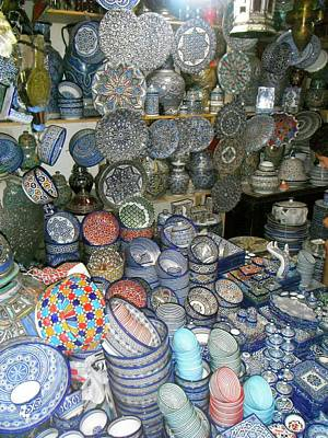 Exploramum Photograph - Moroccan Blue Pottery by Exploramum Exploramum