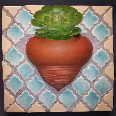 Wheelthrown Mixed Media - Moroccan Mosaic With Aeonium by Evelyn Taylor Designs