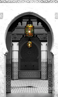 Morroco Digital Art - Moroccan Style Doorway Lamps Courtyard And Fountain Color Splash Black And White by Shawn O'Brien