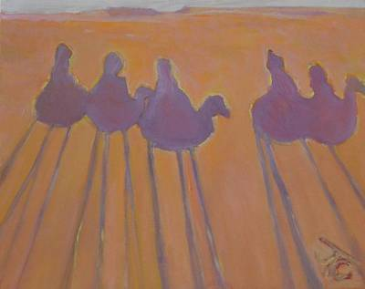Painting - Morocco, Camels, Riders And Shadows. by Julie Todd-Cundiff