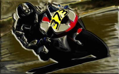 Mororcycle Racing 7a Art Print by Brian Reaves