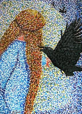 Drawing - Morrigan Raven Goddess by Angela Davies