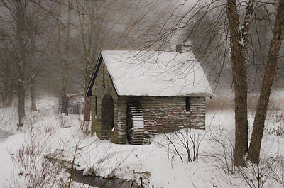 Phillies Digital Art - Morris Arboretum Mill In Freshly Fallen Snow by Bill Cannon
