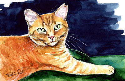 Painting - Morris - Feral Orange Tabby by Dora Hathazi Mendes