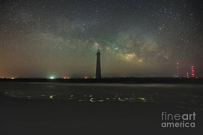 Photograph - Morris Island Light House Milky Way by Robert Loe