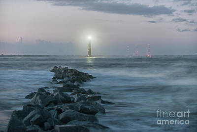 Photograph - Morris Island Lighthouse Anniversary Lighting In Charleston by Dale Powell