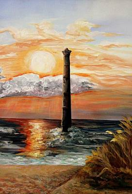 Folly Beach Painting - Morris Island Lighthouse by Lisa Graves