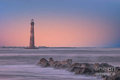 Photograph - Morris Island Orange Glow by Dale Powell