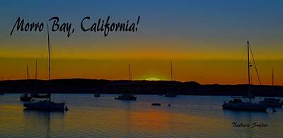 Morro Bay California Abstract Sunset Art Print by Barbara Snyder