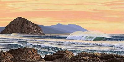 Wind Surfing Painting - Morro Bay California by Andrew Palmer