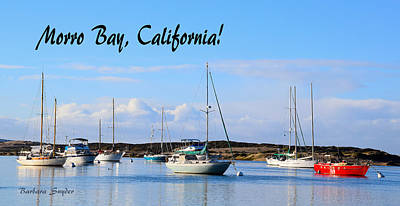 Spit Painting - Morro Bay Harbor Big Red Boat by Barbara Snyder
