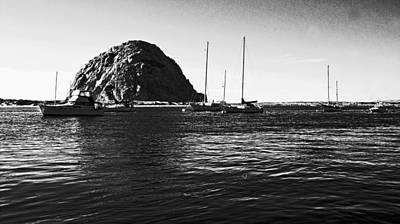 Photograph - Morro Bay Rock B-w by Gary Brandes