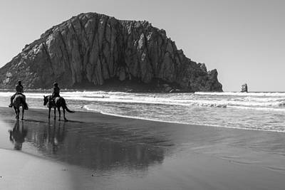 Photograph - Morro Rock And Horses Black And White by John McGraw