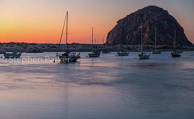 Photograph - Morro Rock At Dusk 8b5541 by Stephen Parker